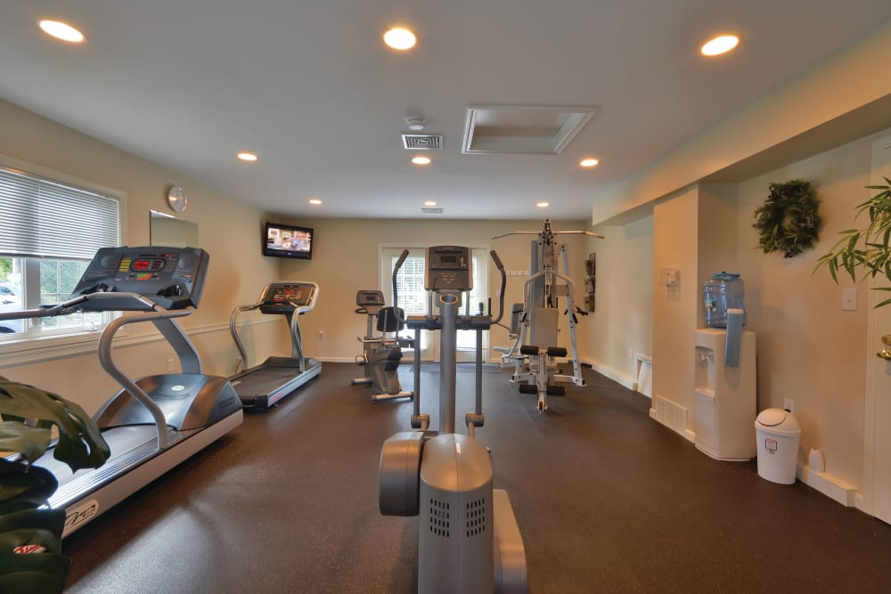 Fully equipped fitness center at Middlesex Crossing in Billerica, Massachusetts