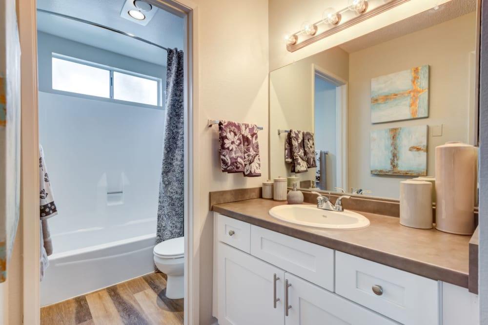 Luxury bathrooms with shower and bathtub at Sofi Ventura in Ventura, California