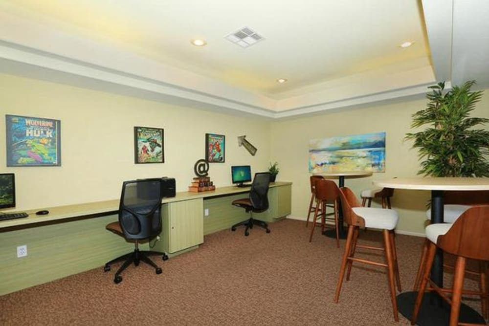 Business center with computers for resident use at Alterra Apartments in Las Vegas, Nevada