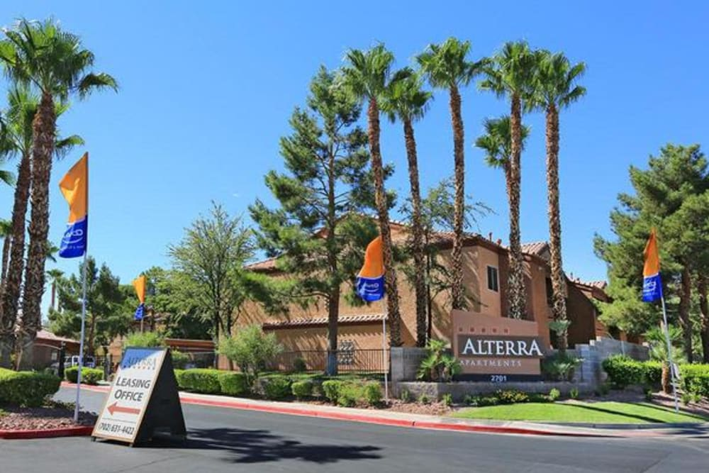 Our monument sign welcoming residents and their guests to Alterra Apartments in Las Vegas, Nevada