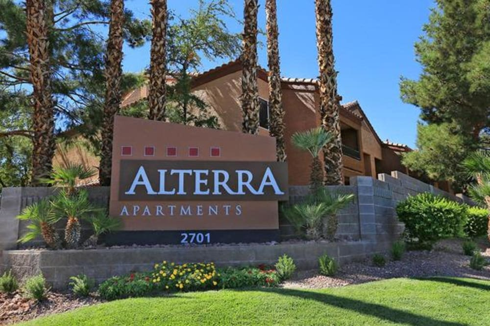 Our monument sign welcoming residents and guests to Alterra Apartments in Las Vegas, Nevada