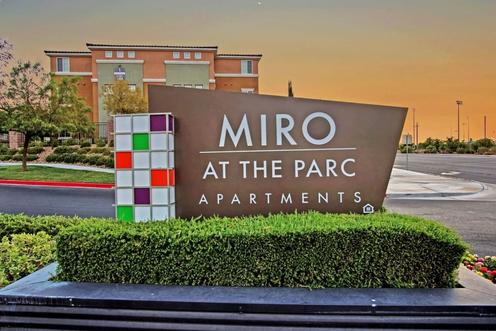 Entry Sign at Miro at the Parc in Henderson, Nevada