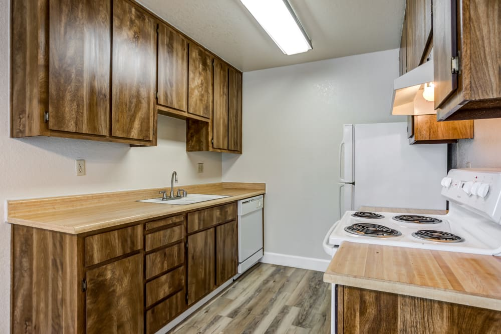 Kitchen at Waterfield Square Apartment Homes in Stockton, California