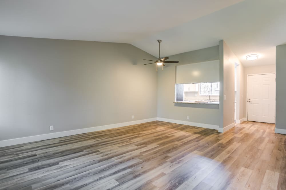 View towards kitchen from living room at Waterfield Square Apartment Homes in Stockton, California