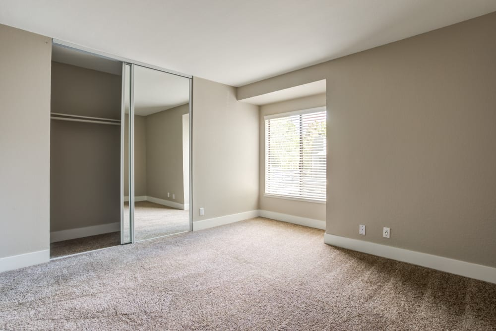 Bedroom with large window and spacious closet