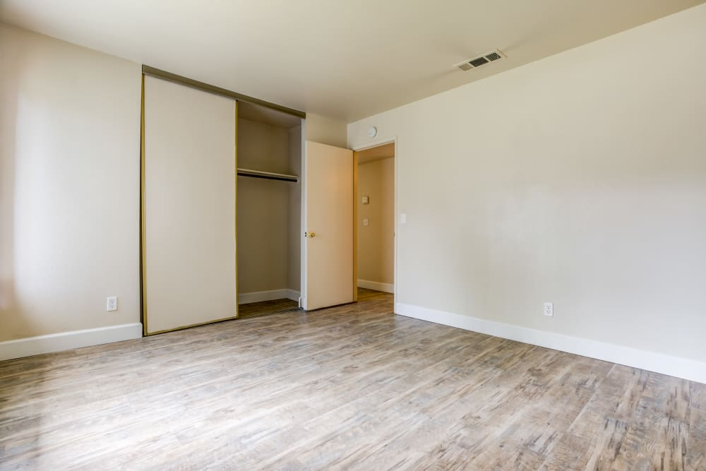 Comfortable bedroom at Waterfield Square Apartment Homes in Stockton, California