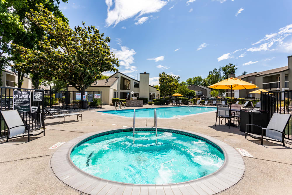 Out door hot tub at apartments in Stockton, California