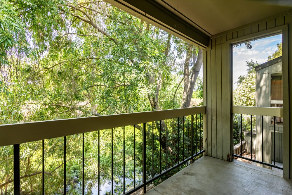 Private outdoor balcony at Waterfield Square Apartment Homes in Stockton, California