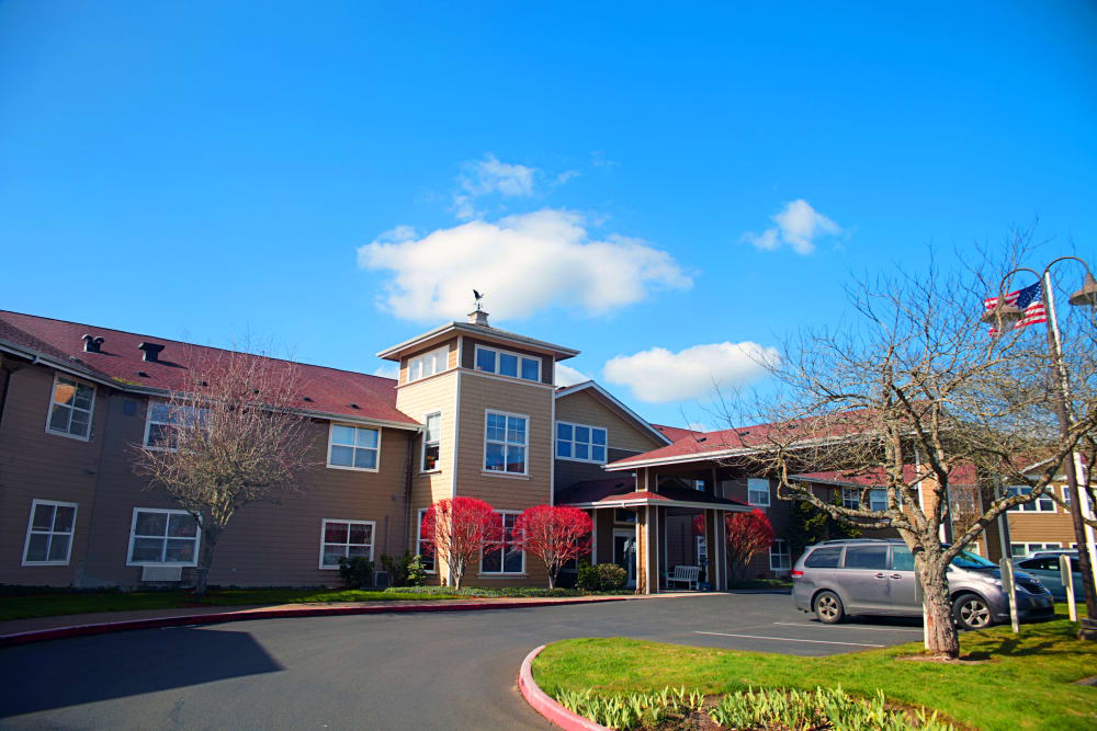 Welcome center front entrance at Heron Pointe Senior Living in Monmouth, Oregon