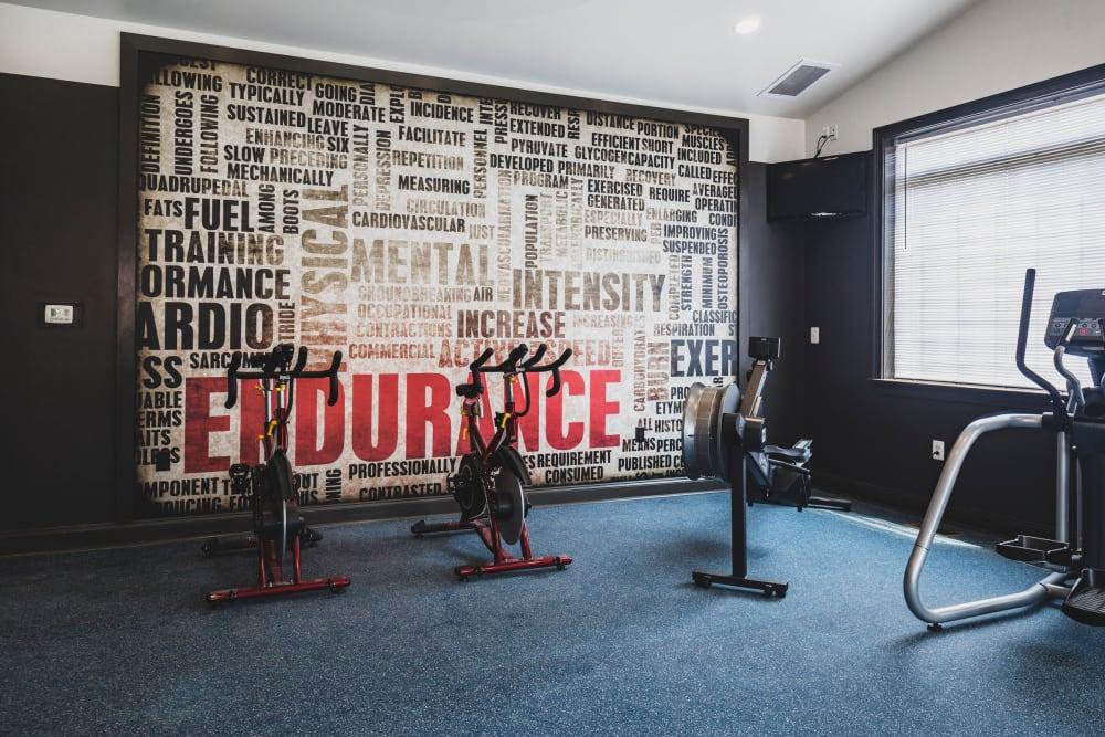 Fitness room at Sunchase at James Madison in Harrisonburg, Virginia