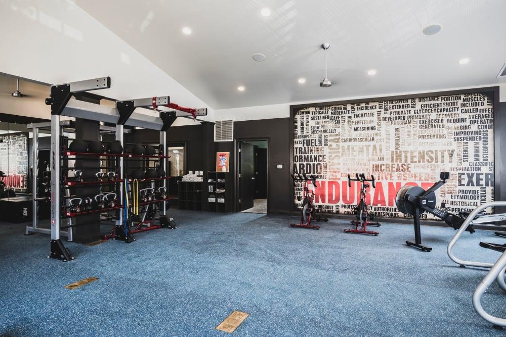 Fitness center equipment at Sunchase at James Madison in Harrisonburg, Virginia