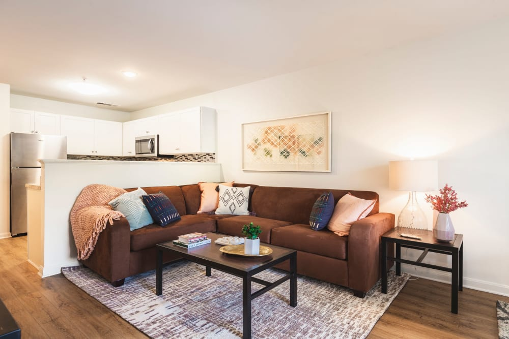 Living room area in model apartment at Sunchase at James Madison in Harrisonburg, Virginia