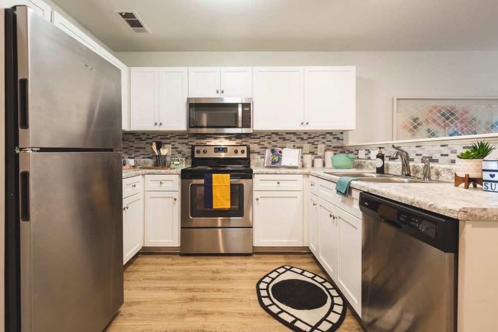 Spacious kitchen in apartment at Sunchase at James Madison in Harrisonburg, Virginia