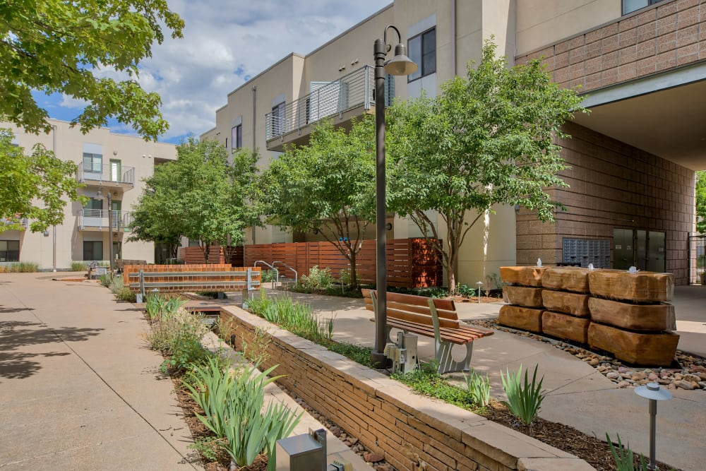 Outdoor Courtyard at Downtown Belmar Apartments in Lakewood, Colorado