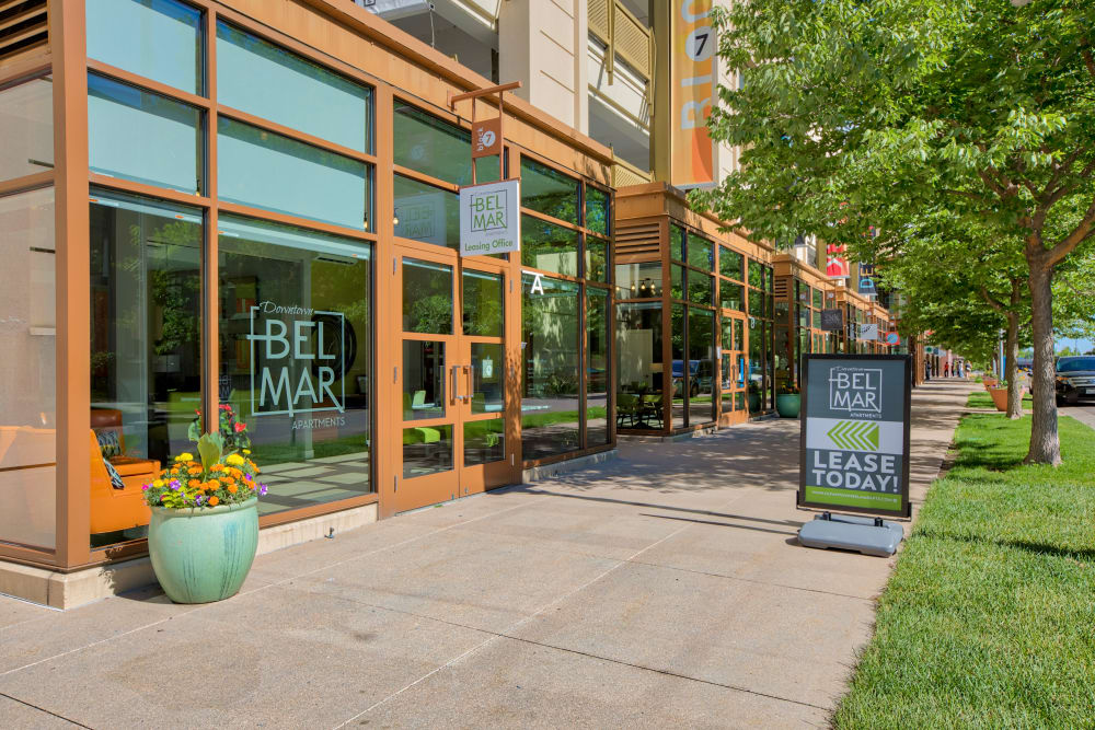 Exterior of the Leasing Office at Downtown Belmar Apartments in Lakewood, Colorado