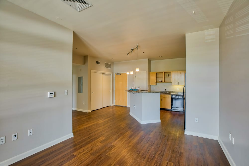 Living Room & Kitchen at Downtown Belmar Apartments in Lakewood, Colorado