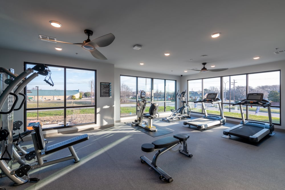Community fitness center at The Luxe at Cedar Hill in Cedar Hill, Texas
