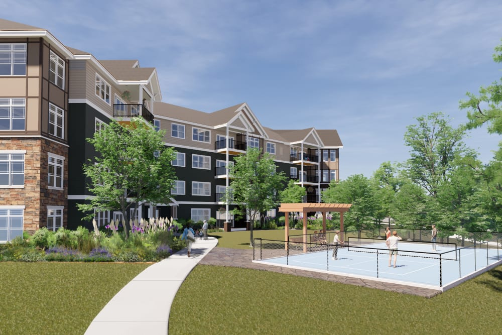 Rendering of pickle ball court at Applewood Pointe Prior Lake in Prior Lake, Minnesota.