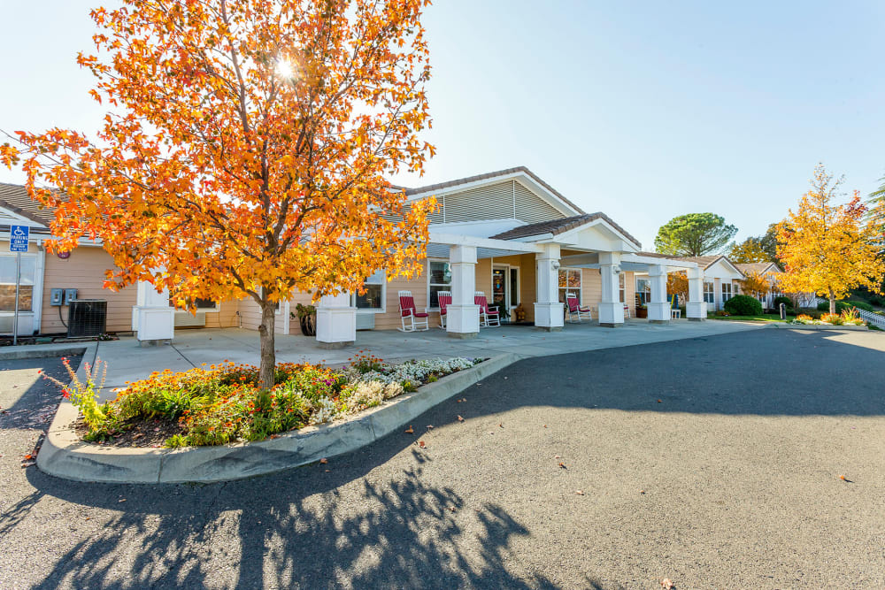 Exterior view of main entrance at Lassen House Senior Living in Red Bluff California