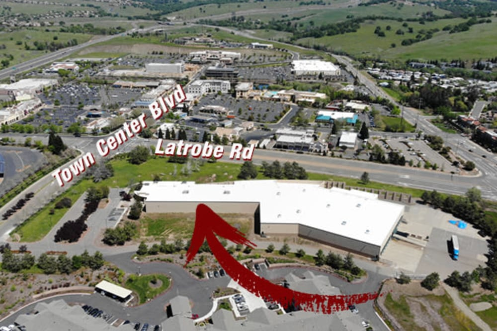 An aerial view with an arrow pointing to Superior Self Storage in El Dorado Hills, California
