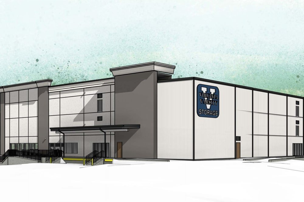 A rendering of the front of the building at Virginia Varsity Self Storage in Roanoke, Virginia