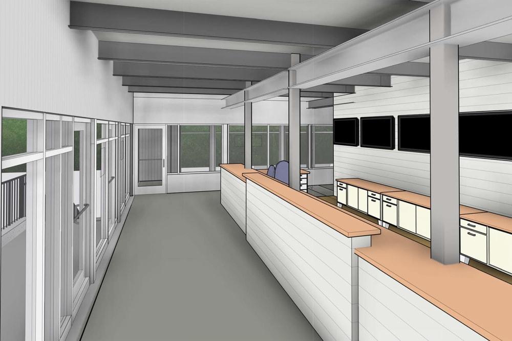 A rendering of the rental office at Virginia Varsity Self Storage in Roanoke, Virginia