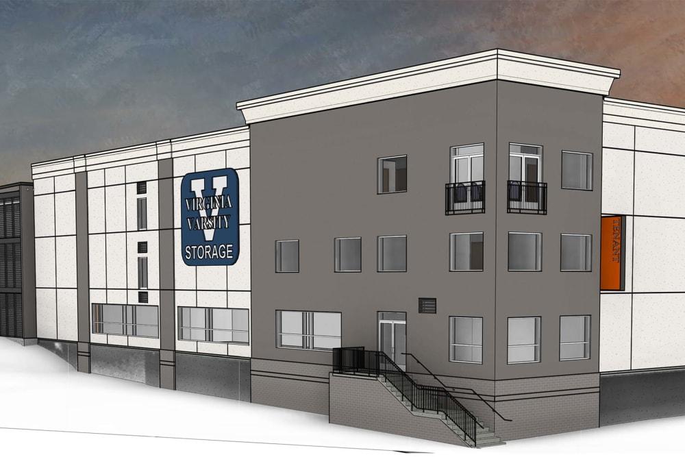 A rendering of the building at Virginia Varsity Self Storage in Roanoke, Virginia