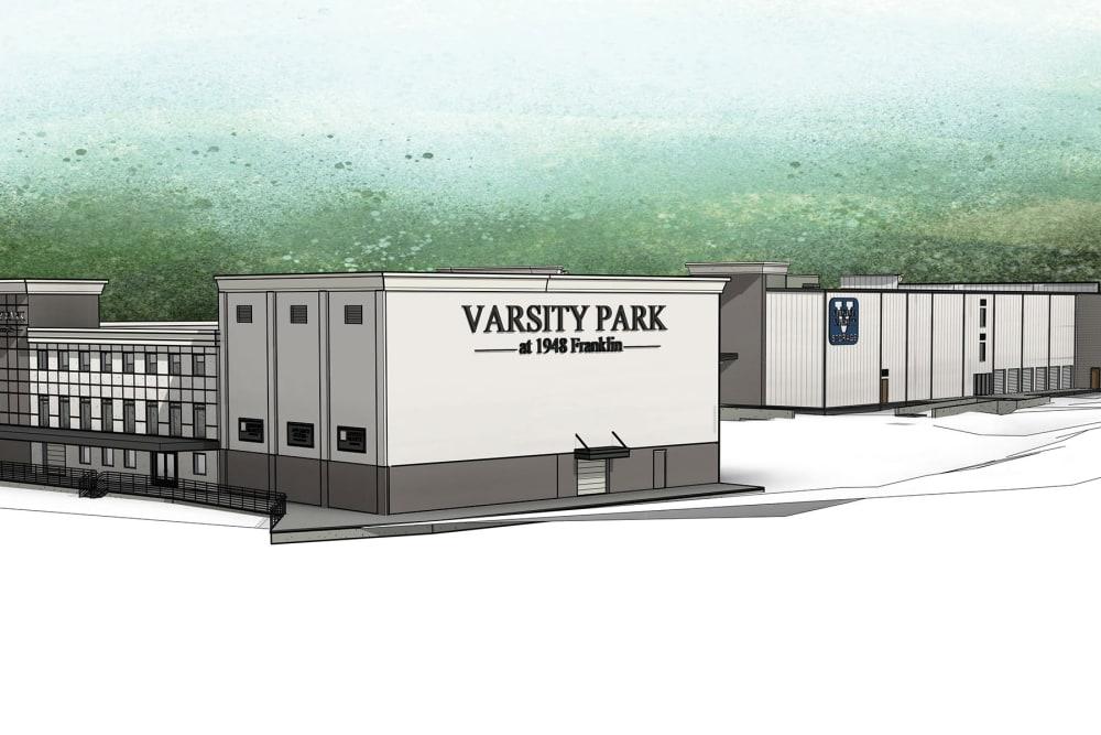 A rendering of the side of the building at Virginia Varsity Self Storage in Roanoke, Virginia