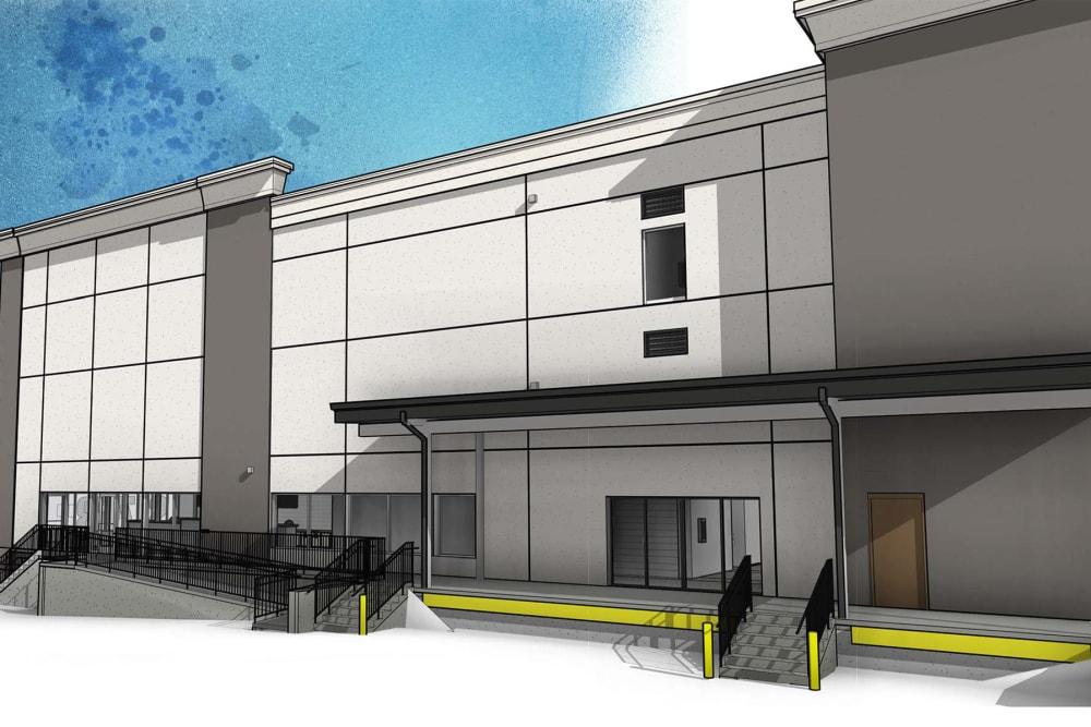 A rendering of the loading area at Virginia Varsity Self Storage in Roanoke, Virginia