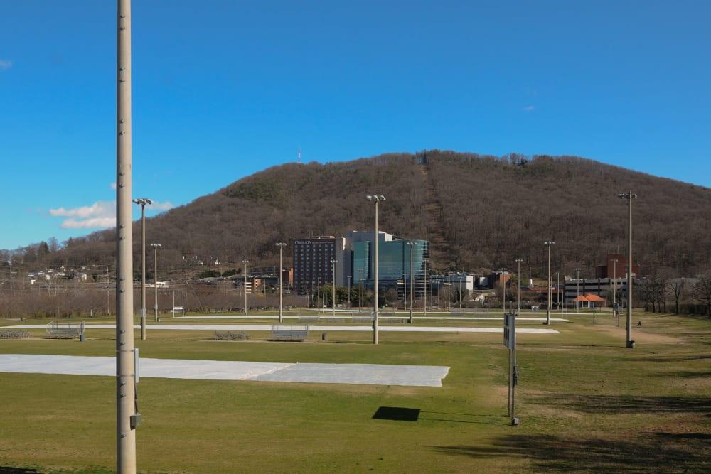 A large plot of land where Virginia Varsity Self Storage in Roanoke, Virginia is located