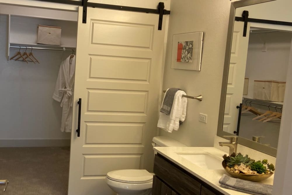 Bathroom with closet at The District at Chandler in Chandler, Arizona