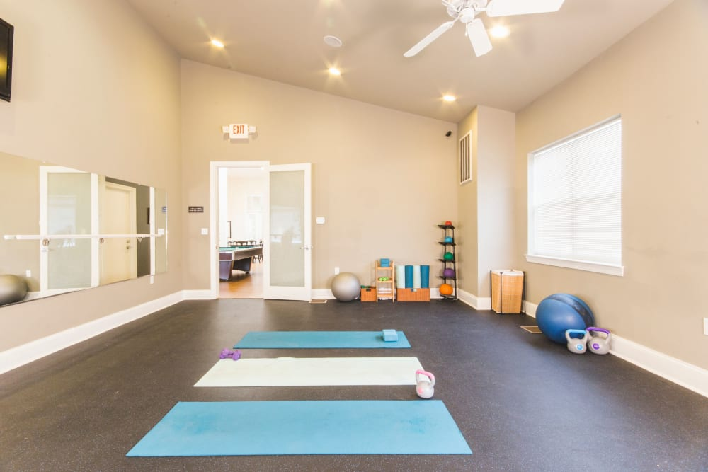 Yoga room in fitness center at Sunchase at Longwood in Farmville, Virginia