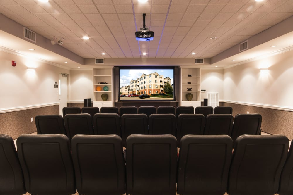 Movie theater room at Sunchase at Longwood in Farmville, Virginia