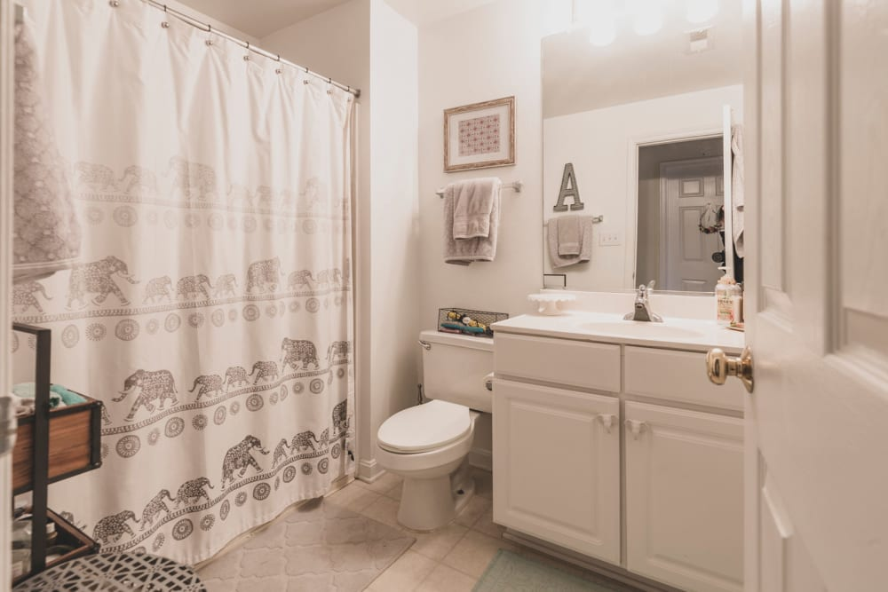 Luxurious bathroom at Sunchase at Longwood in Farmville, Virginia