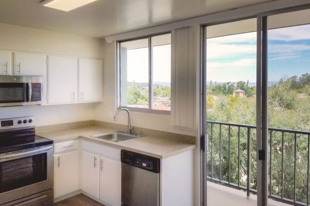 Bright, spacious kitchen at Hillsborough Plaza Apartments in San Mateo, California