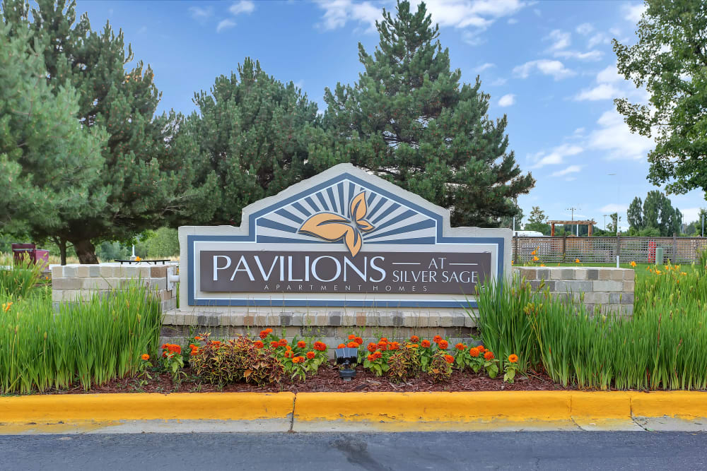 Entry Sign at Pavilions at Silver Sage in Fort Collins, Colorado