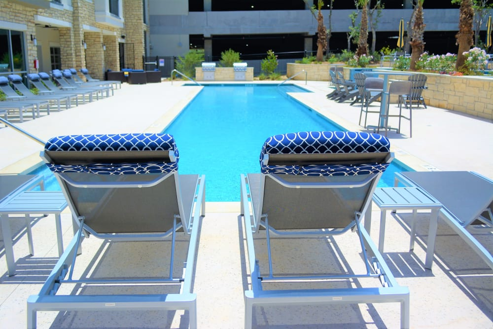 Poolside seating at The Abbey at Sonterra in San Antonio, Texas