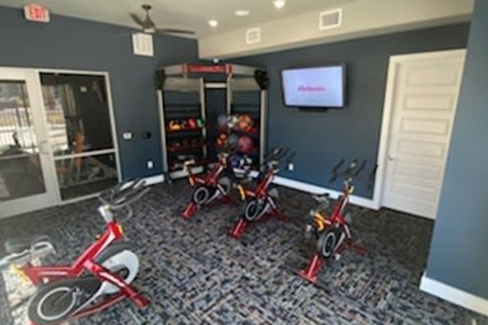 Spin bikes at The Abbey at Sonterra in San Antonio, Texas