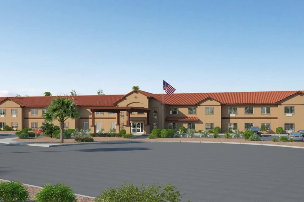 Front Entrance and driveway to Ativo Senior Living of Yuma in Yuma, Arizona