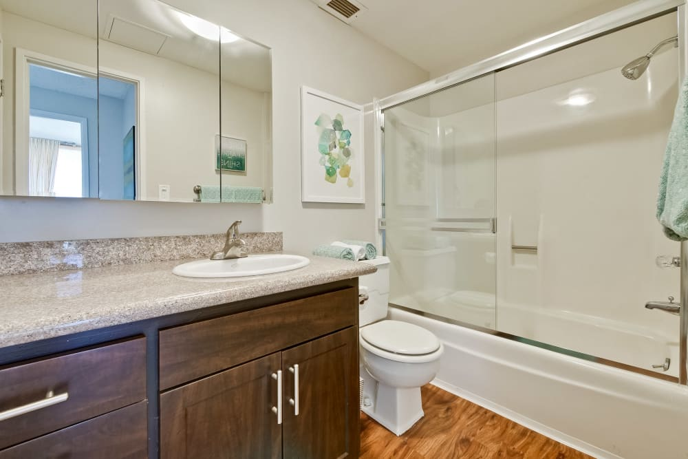 Luxury bathrooms with hardwood floors at The Marc, Palo Alto in Palo Alto, California