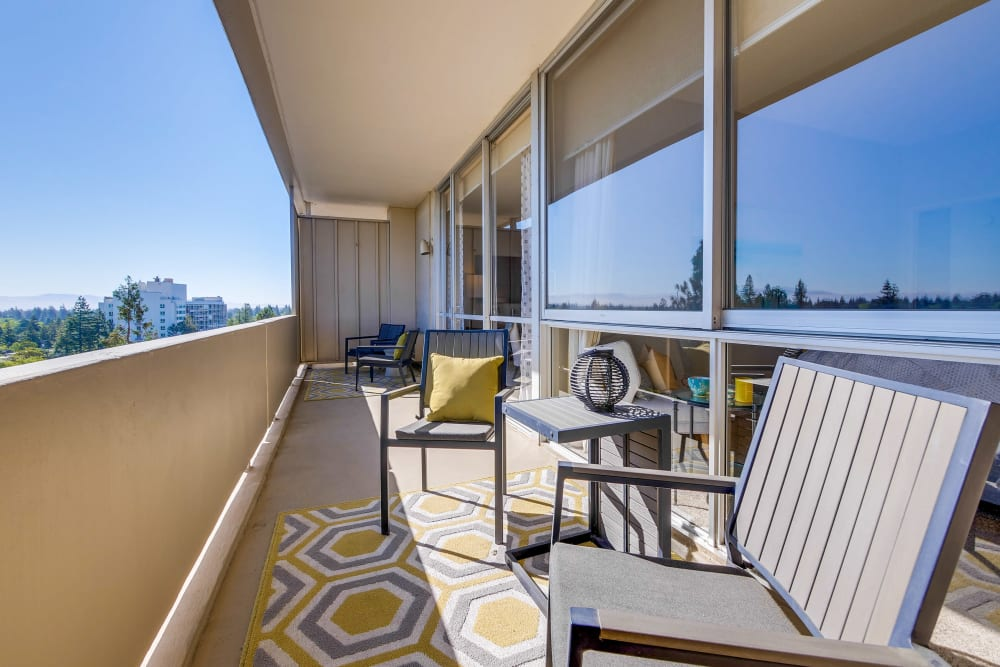 Apartments with private balconies at The Marc, Palo Alto in Palo Alto, California