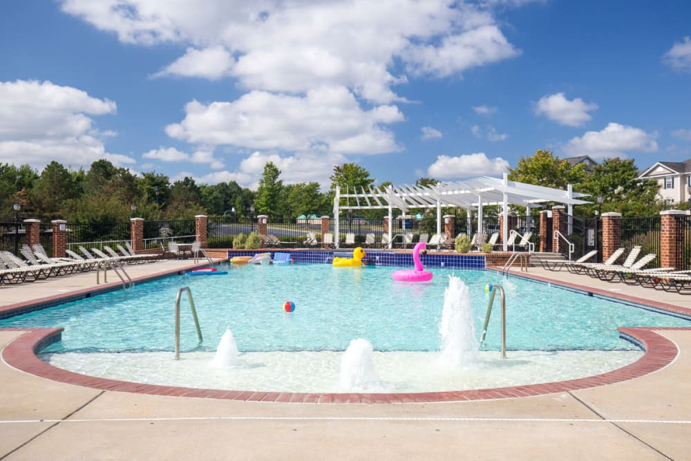 Swimming pool area of Sunchase at Longwood in Farmville, Virginia