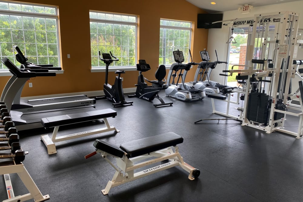 Spacious fitness center at Sunchase at Longwood in Farmville, Virginia