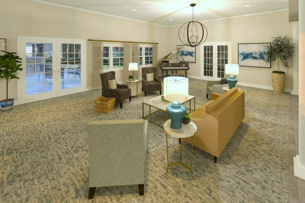 A cozy living room at Cooper Trail Senior Living in Bardstown, Kentucky.