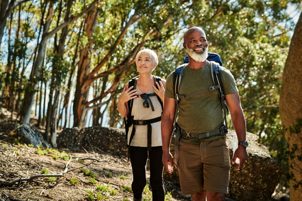 Couple hiking near Storage Units in Aiken, South Carolina