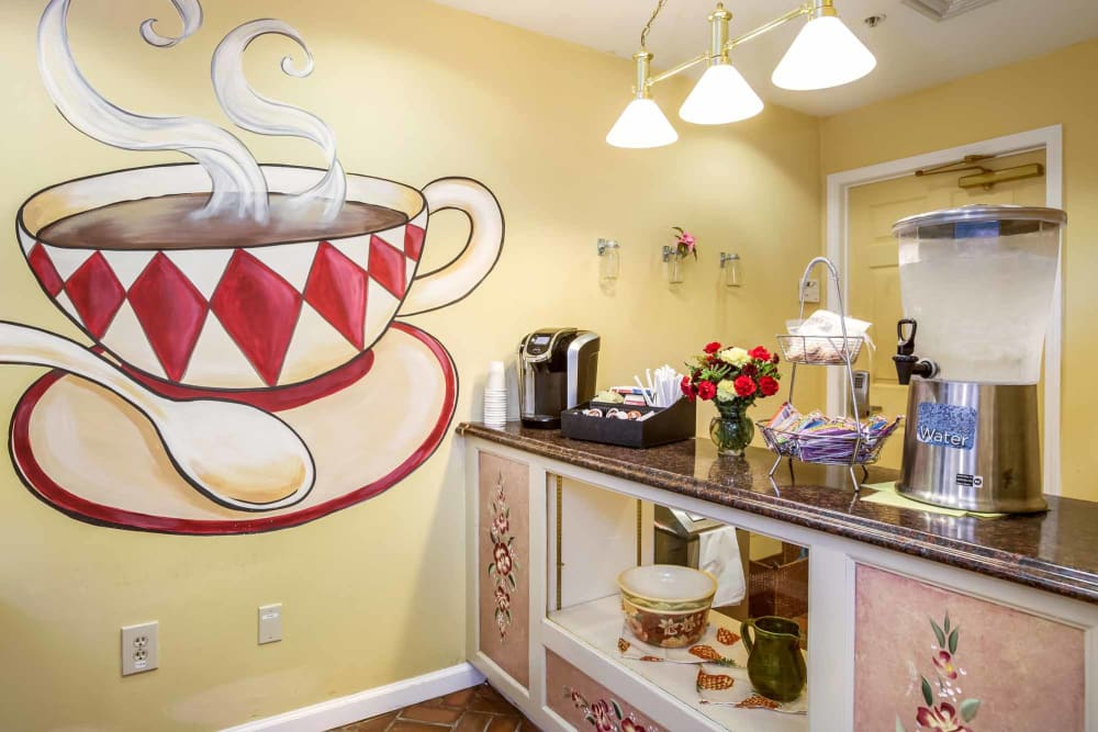 Cozy coffee corner at Floral Creek Alzheimer's Special Care Center in Yardley, Pennsylvania