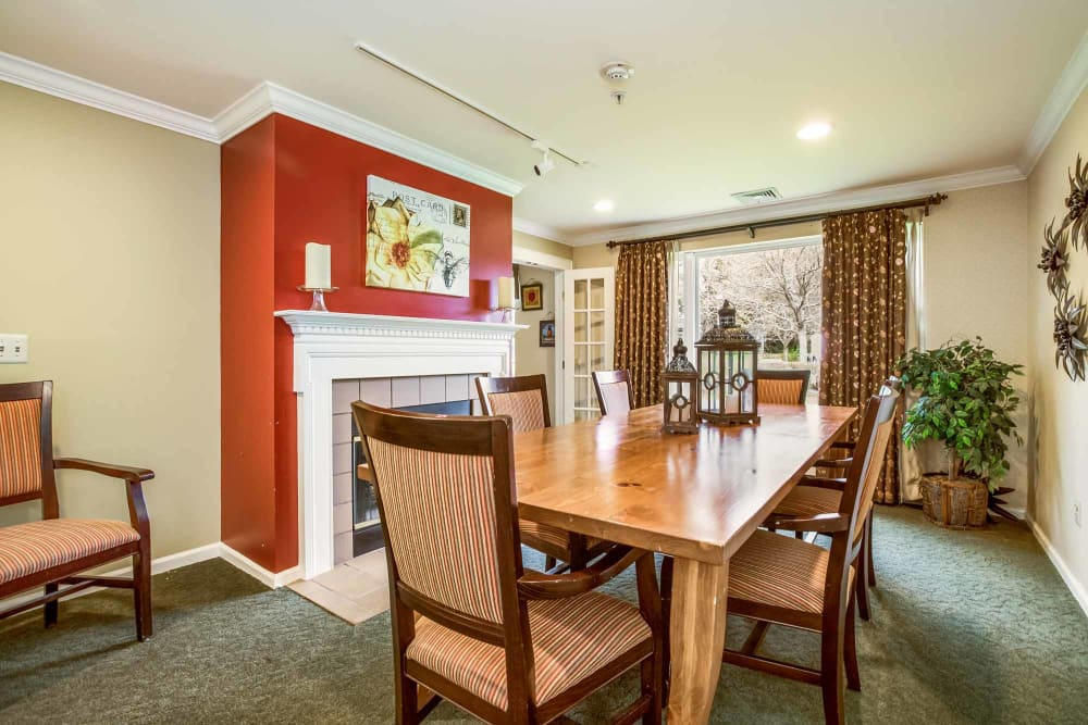 Dining table for residents at Floral Creek Alzheimer's Special Care Center in Yardley, Pennsylvania