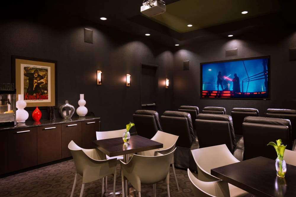 Large resident theater at Venu at Galleria Condominium Rentals in Roseville, California