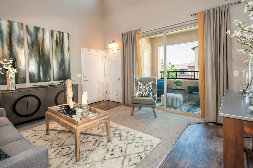Patio access from the living room at Venu at Galleria Condominium Rentals in Roseville, California