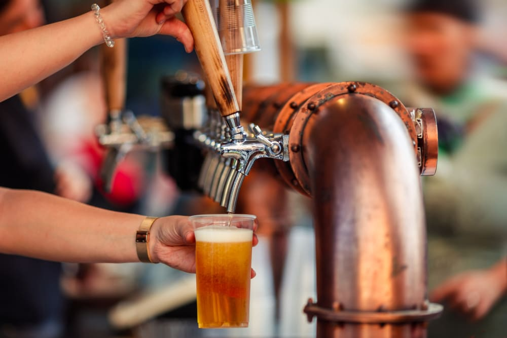 A beer being poured at a local brewery near The Columbia at the Waterfront in Vancouver, Washington